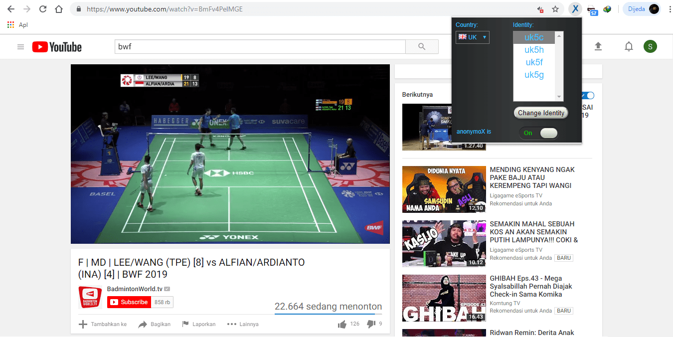 Cara Live Streaming Pertandingan Bulu Tangkis, Cara Live Streaming Pertandingan Badminton, Cara Live Streaming Match Badminton, Situs Live Streaming Badminton, Situs Live Streaming Bulu Tangkis, Cara Mononton Pertandingan BAdminton di Smartphone Android, Cara Membuka Block Channel Youtube BWF (Badminton World Federation), Cara melihat pertandingan badminton di youtube Badminton World Federation
